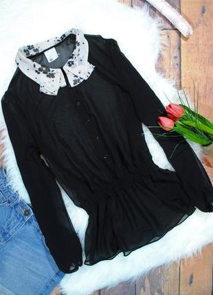 Необычная шифоновая блузка с цветочным воротничком g21 размер uk12 (m)