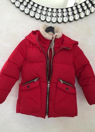Zara куртка зимняя пуховик на 7 лет