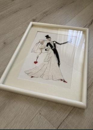 Вышитая картина бисер-крестик свадьба