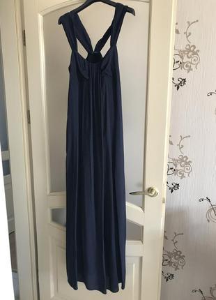 Шелковое длинное темно синее платье