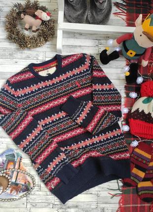 Свитер тёплый шерстяной осень зима скандинавский орнамент