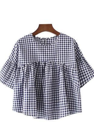 Рубашка блузка топ блуза футболка кофта в клетку клетчатая