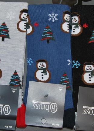 Новогодние демисезонные мужские носки 41-45 снеговик бросс bross