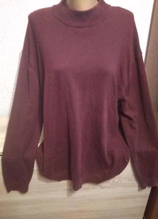 Бордовый гольф на пишные формы батал свитер светр next