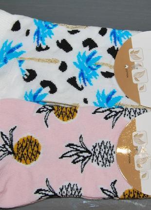 Укороченные носки ананас пальма bross бросс 36-40