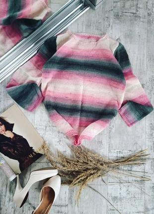 Вязаный свитер мохеровый ручная работа
