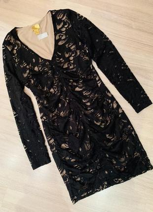 Вечернее ажурное платье кружевное h&m коктейльное женское чёрное