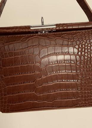 Сумка клатч сумочка рептилия коричневая