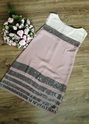 Шифоновое платье в пайетках