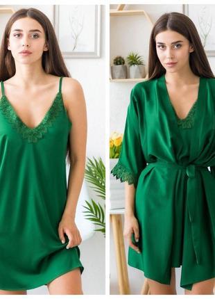 Mito melisa 1351 женский шелковый комплект халат и сорочка зеленый