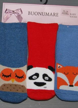 Набор 3 пары теплые махровые носки сова панда лис 18-24 мес 1,5-2 года турция