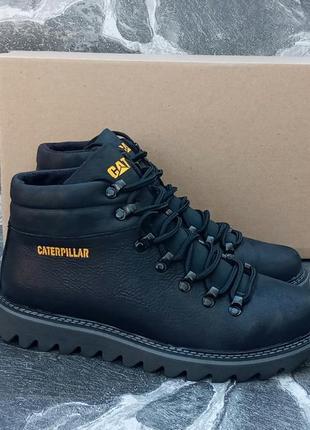 Мужские зимние ботинки cat-caterpillar classic кожаные,черные,