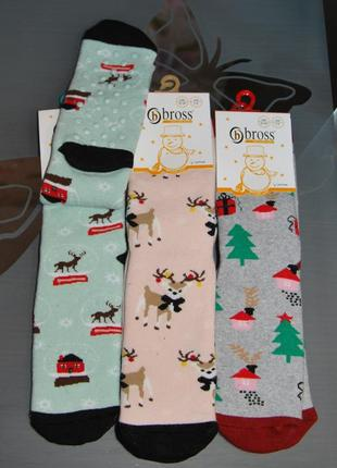 Теплые махровые носки 7-9 лет bross новогодние олень елка бросс