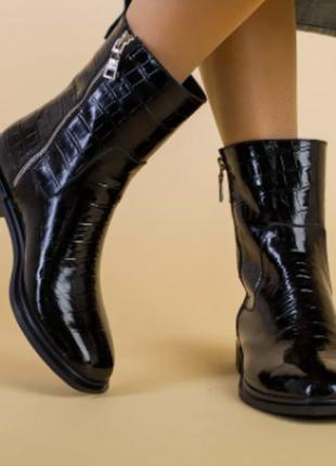 Ботинки женские кожа наплак черные, имитация крокодила, на низком ходу