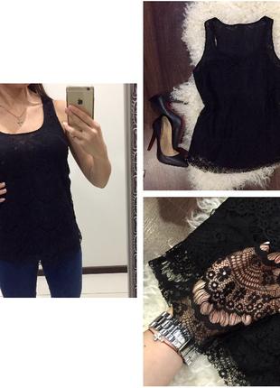 Роскошьная черная кружевная блуза / майка zara