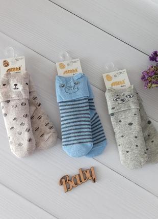 Махровые носки с ушками для малышей 12-18 мес, набор 3 пары. турция арти