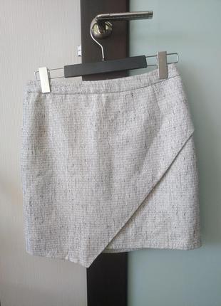 Шикарная нарядная юбка с люрексом h&m, размер 40
