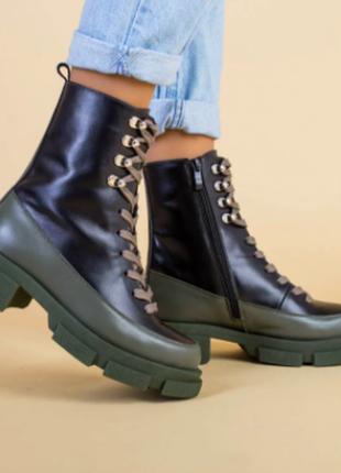 Ботинки женские кожаные, цвет черный и хаки демисезонные