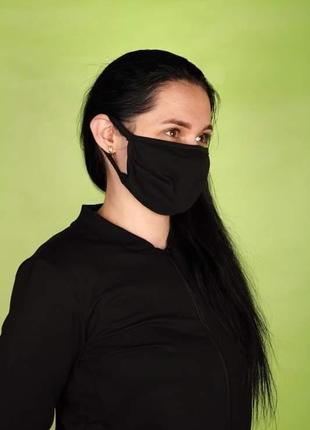 Тканевая двухслойная маска чёрная