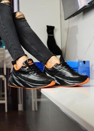 Женские кроссовки adidas shark black orange