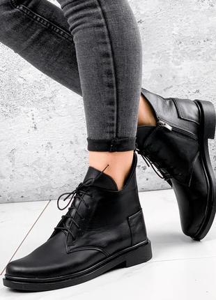 Ботинки женские oscar черные натуральная кожа
