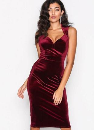Бархатное велюровое платье nly one миди с вырезом сердечком с asos