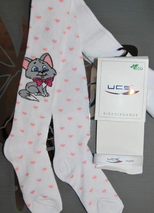 Демисезонные колготы р. 3 котик сердечки турция ucs юск
