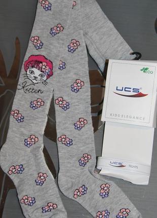 Демисезонные колготы р. 3, 5 котик цветочки турция ucs