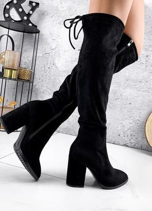Новые замшевые  чёрные сапоги ботфорты на каблуке сезон еврозима