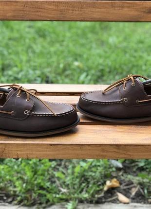 Оригинальные кожаные туфли топсайдеры мокасины clark's