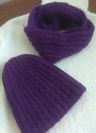 Вязанный наборчик#шапка и шарф фиолетового цвета