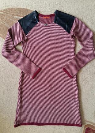 Платье теплое с кожаными вставками