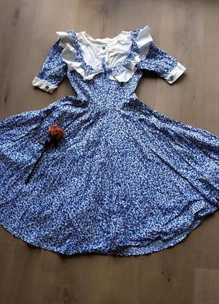 Винтажное ретро платье с воланами рюшами юбка солнце