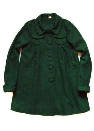 Стильне пальто насиченого зеленого кольору