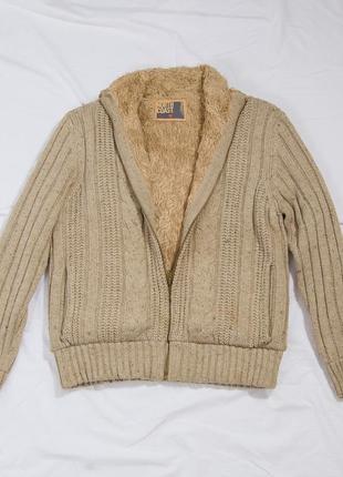 Мужская теплая кофта с молнией, мужской свитер зимний, кофта с мехом, шерстяной свитер