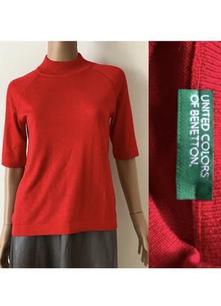 Меринос красная кофта с укороченым рукавом