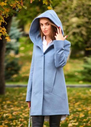 Пальто с капюшоном, итальянская 100% шерсть