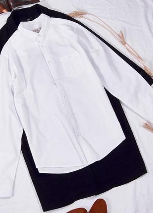 Белая рубашка классическая, оверсайз рубашка женская, однотонная белая рубашка, сорочка