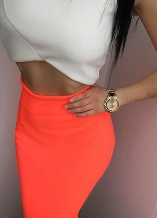 Роскошная  бандажная неоновая персиковая миди юбка h&m s 36