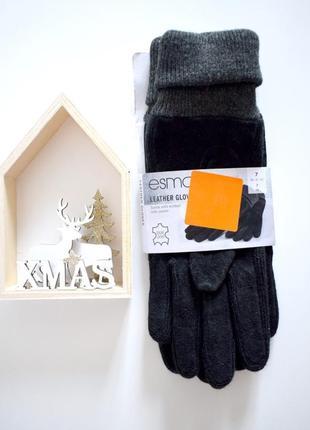 Стильные перчатки из замша и трикотажа esmara 7 европейское качество