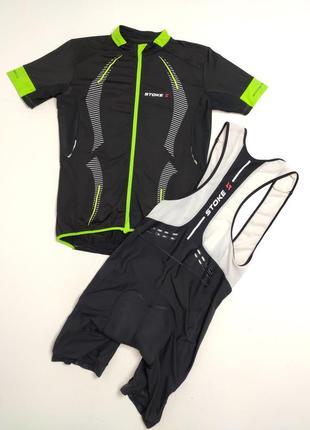 Велокомплект (футболка и шорты с лямками) stoke