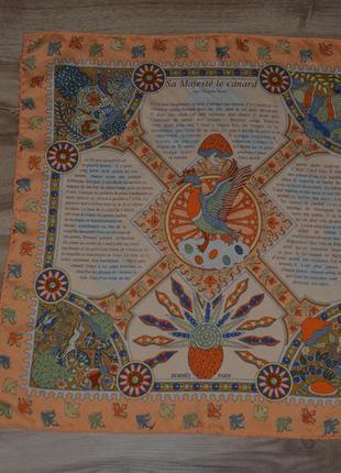 Маленький платок hermes (sa majeste le canard)
