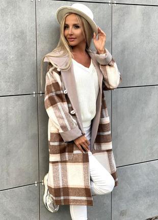 Шикарное женское пальто мокко