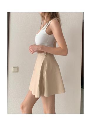 Кожаная юбка а-силуэта