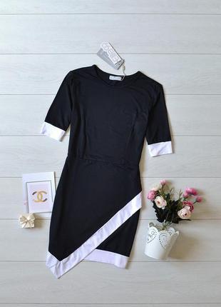 Красиве асиметричне чорно-біле плаття