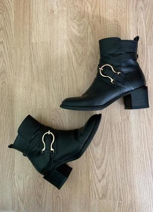 Чёрные кожаные ботинки ботильоны antonio biaggi