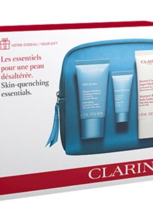 🌞sale🌞набор clarins moisture-rich body lotion+sos hydra mask+hydra eye mask+косметичка