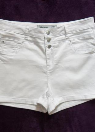 Высокие белые джинсовые шорты new look, 16 размер.