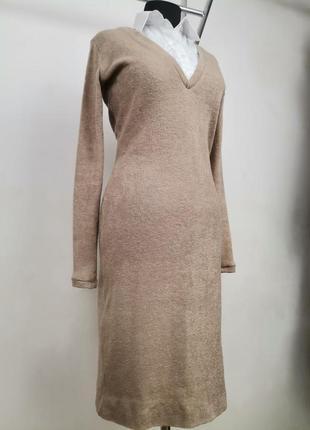 Платье прикотажное капучино с белой 100% хлопковой вставкой и воротником