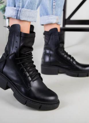 Ботинки женские кожаные черные на шнурках, сзади на замке